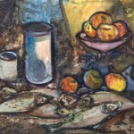 Still life with apples and fish. 1965