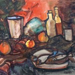 Still life with apples, fish and bottles against the red background. 1965